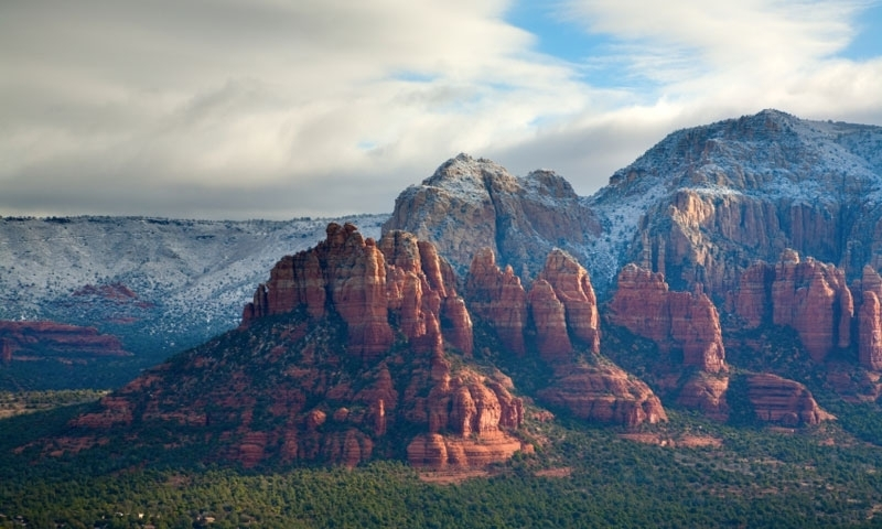 Snow on Bell Rock in Sedona