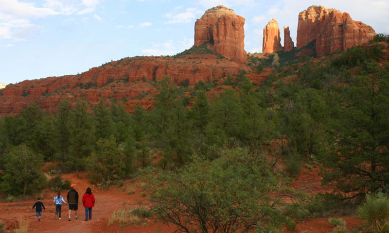 Family Hiking to the base of Cathedral Rock in Sedona