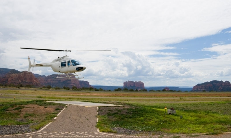Scenic Flight in a helicopter lands at Airport Mesa in Sedona